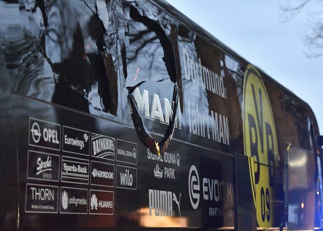 The window of Dortmund's team bus was damaged after an explosion