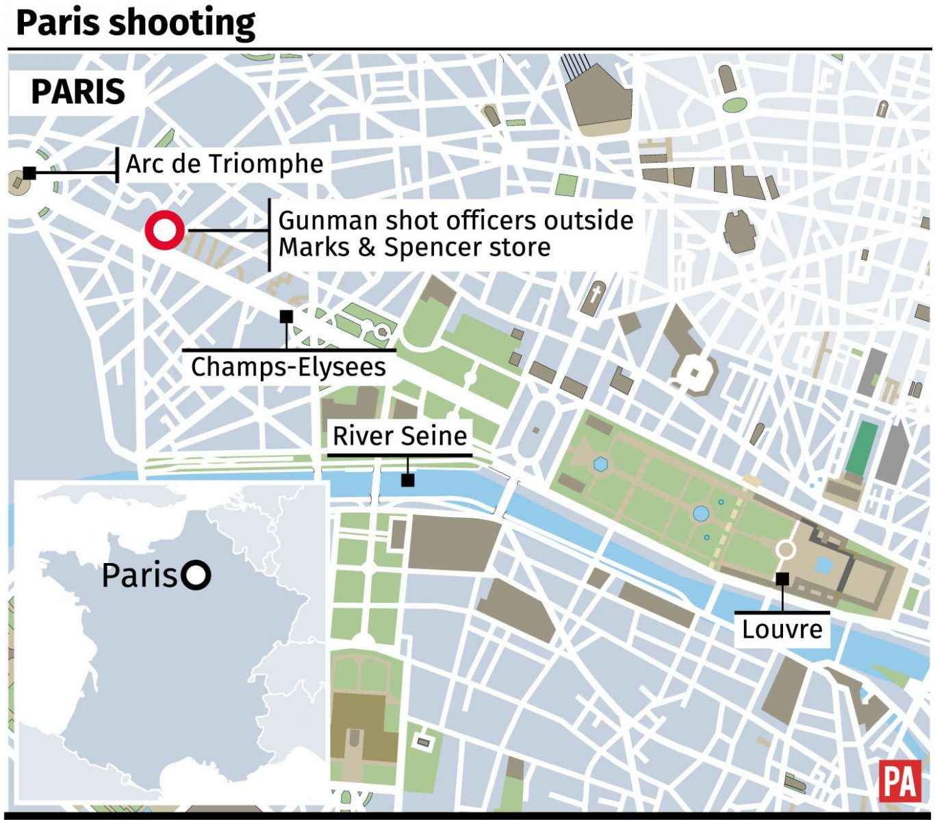 Locates shooting on the Champs-Elysees in Paris