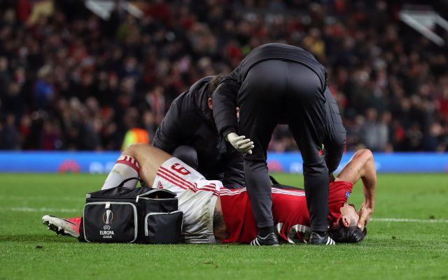 Manchester United's Zlatan Ibrahimovic lies injured during the UEFA Europa League, Quarter Final match at Old Trafford, Manchester.