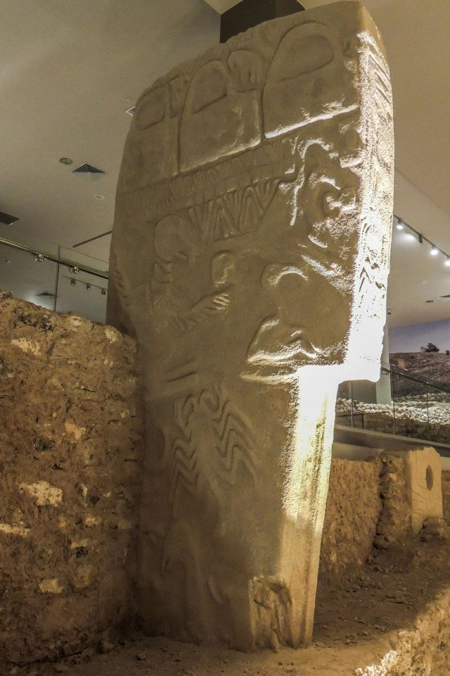 Replica of a stone with Ancient symbols carved into it from an archaeological site in Turkey