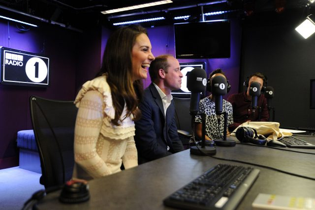 The Duke and Duchess of Cambridge visiting BBC Radio 1 where the couple promoted their Heads Together mental health campaign(Sarah Jeynes/BBC/PA)