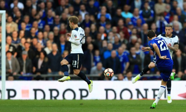Nemanja Matic scores for Chelsea against Tottenham