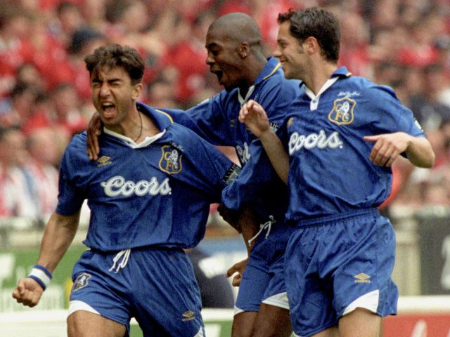 Roberto Di Matteo celebrates after scoring within the first minute of the FA Cup Final at Wembley