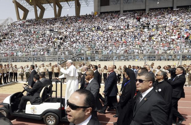 Pope Francis condemns fanaticism at open-air Mass in Egypt