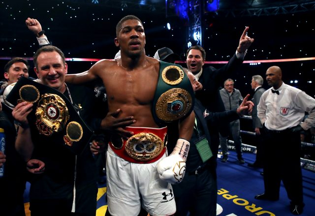 Anthony Joshua celebrates victory over Wladimir Klitschko