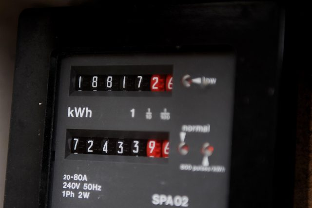 A reading on a domestic household electricity meter