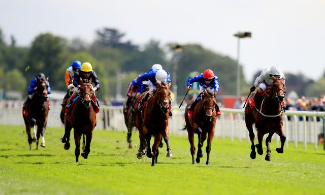 Permian, right, on the way to winning the Betfred Dante Stakes