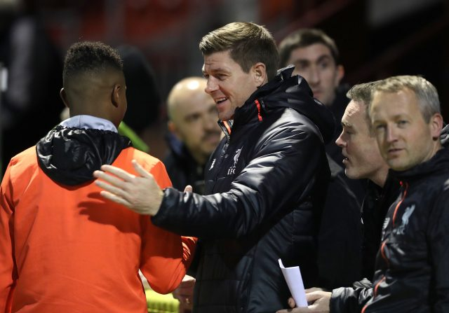 Gerrard before the U18's match against Manchester United (Martin Rickett/PA)