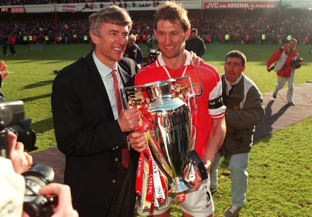 Arsene Wenger and Tony Adams after Arsenal beat Everton to become champions in 1998 (PA Images)