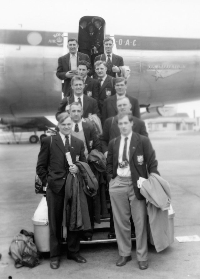 Members of the British Lions squad at London Airport ahead of their tour of South Africa