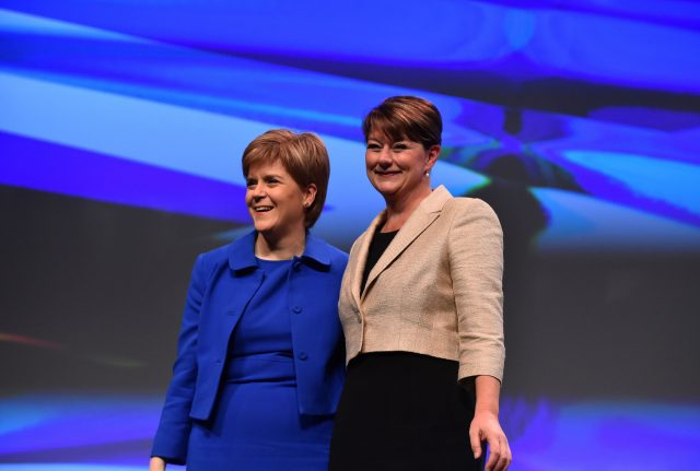 Leanne Wood, right, and SNP leader Nicola Sturgeon