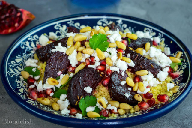 Roasted beetroot salad with feta and couscous (Blondelish.com/PA), veggie BBQ