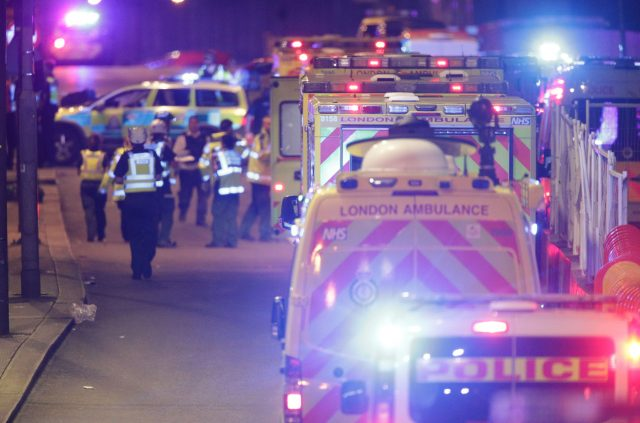 Emergency personnel on London Bridge as police deal with an incident