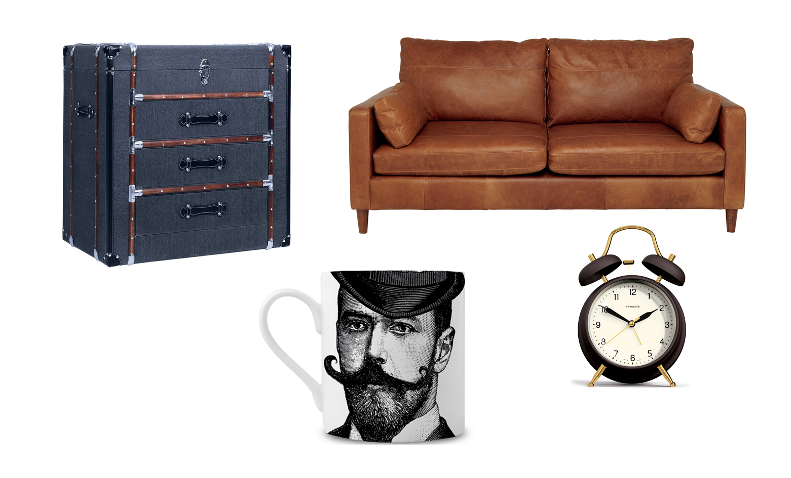 From top left: Colonia Chest of Drawers, Hutsly; Hendrix Stowe tan leather sofa, Marks & Spencer; The Brass Knocker Alarm Clock, Cotswold Trading; Dashing Gent Fine China Mug, Chase and Wonder
