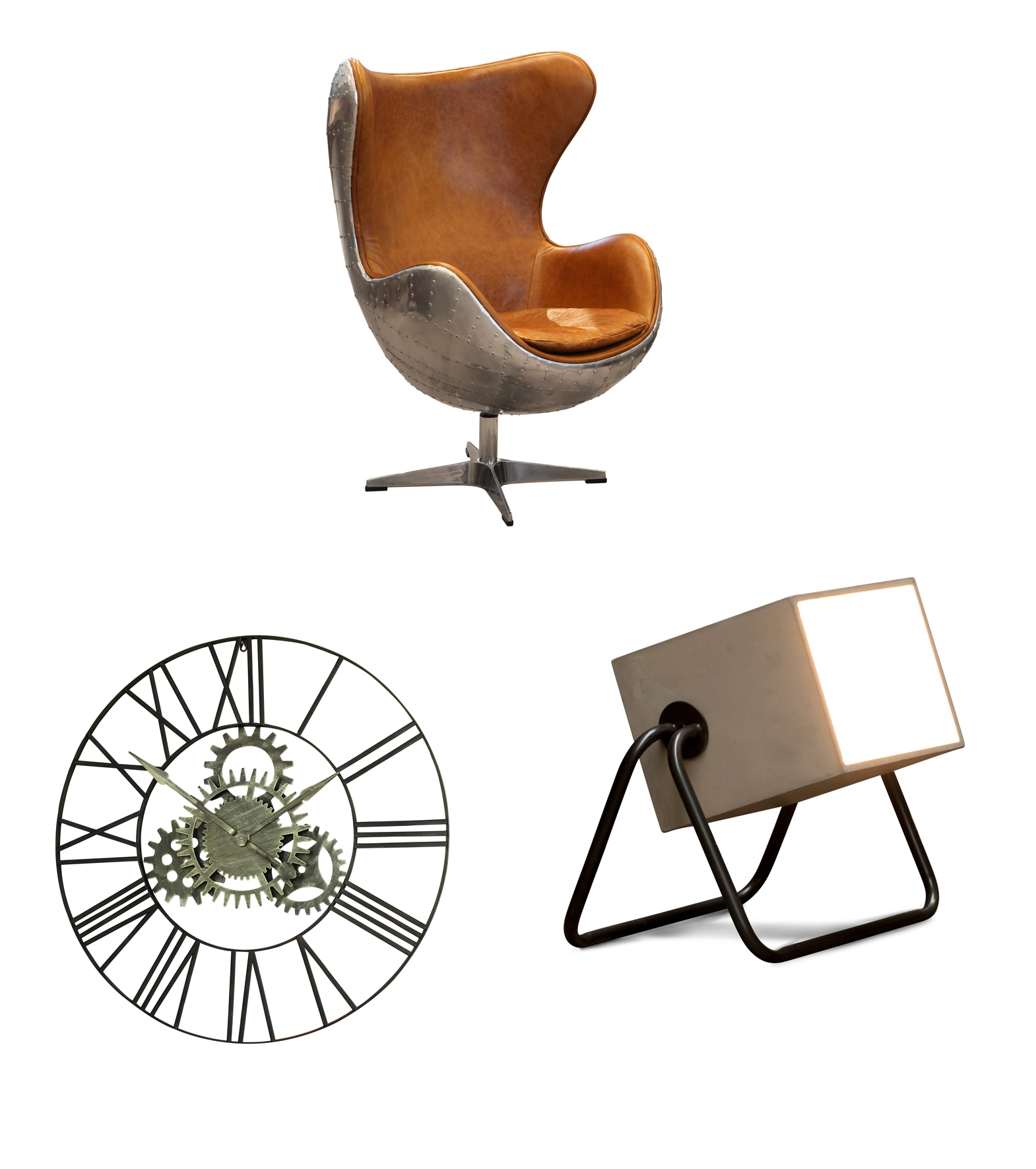 From top: Aviator Keeler Wing Desk Chair, Modish Living; Concrete Box Lighting, PIB; Silver Cog Skeleton Wall Clock, Windsor Browne