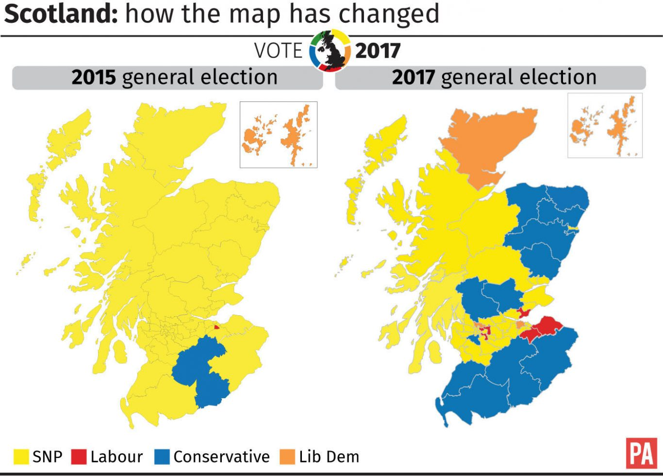 How the political map has changed in Scotland since the 2015 election.