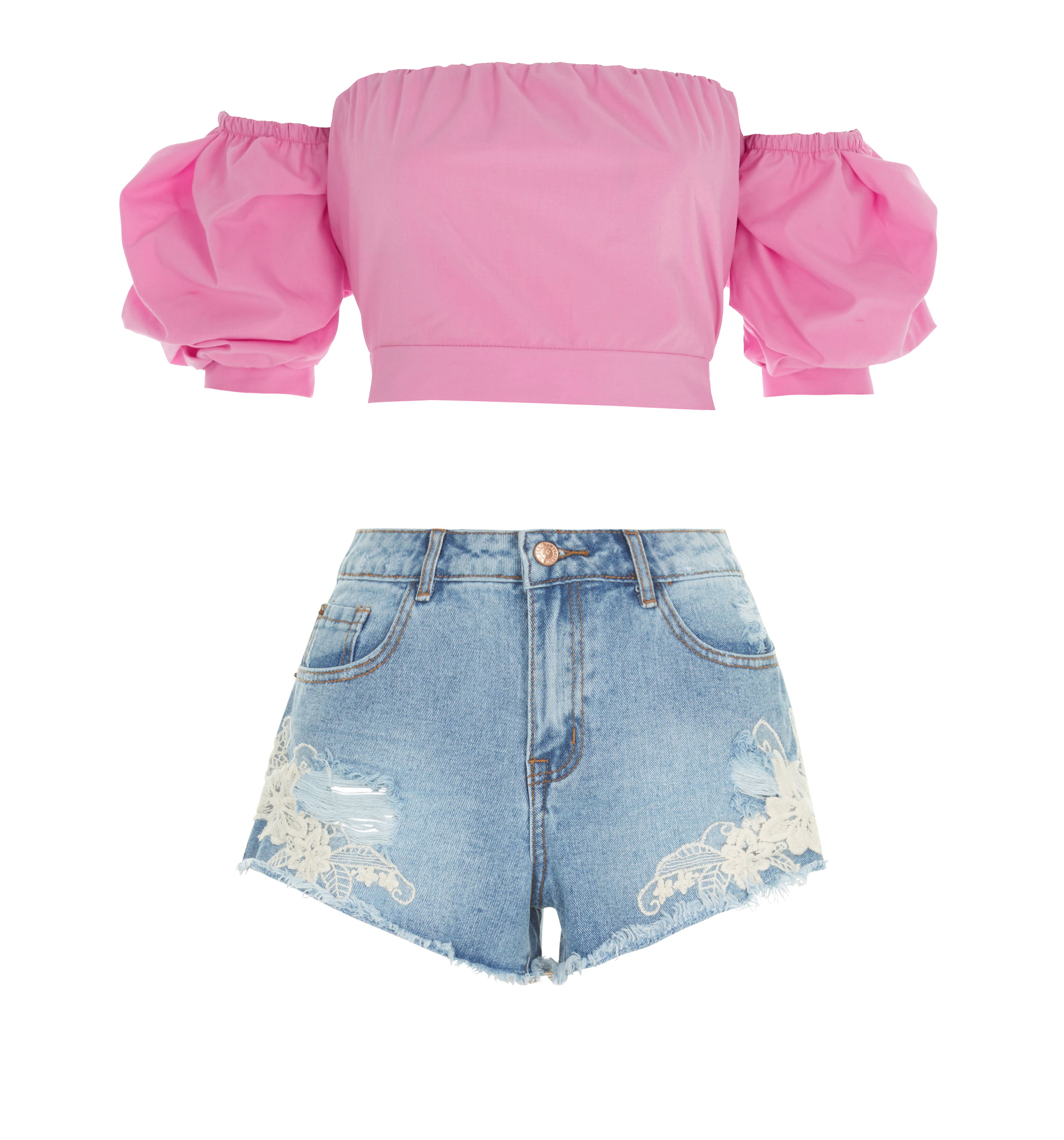 River Island pink top and new look denim shorts (River Island/New Look/PA)