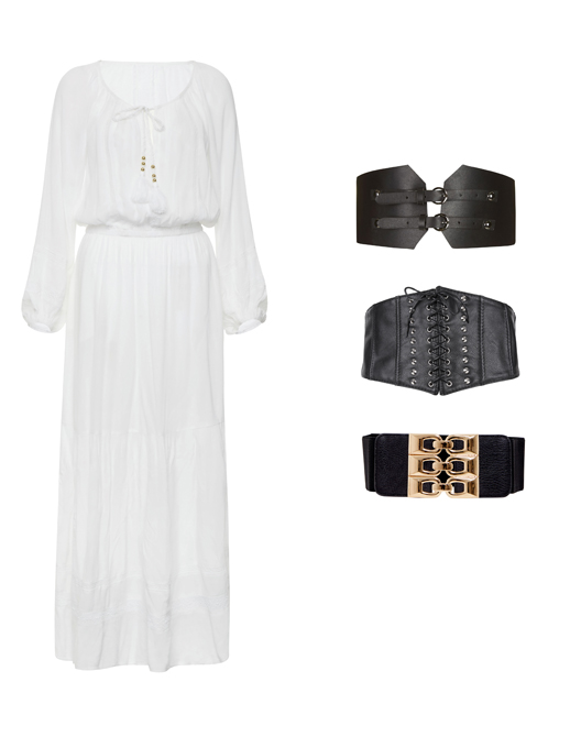 Figleaves white dress, PrettyLittleThing belt, New Look belt, Topshop belt (Figleaves/PrettyLittleThing/New Look/Topshop/PA)