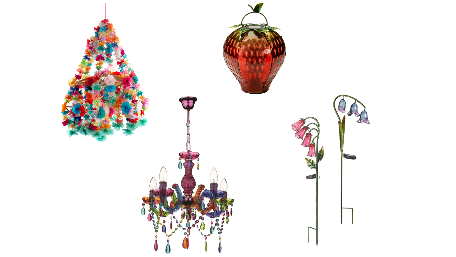 (Clockwise from left) Four lights for festival decor: Pajaki paper chandelier; Solar funky fruit strawberry lantern; Solar iris stake lights, fuschia; chandelier (PA)
