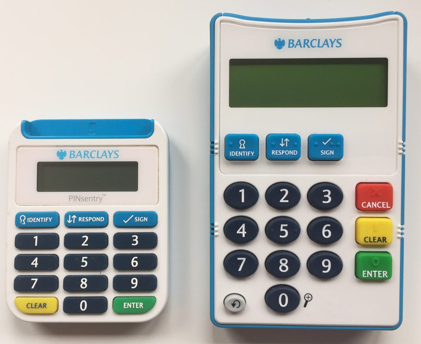 A new talking card reader (right) with super-sized features to help customers with sight and dexterity issues to access its services more easily (Barclays/PA)