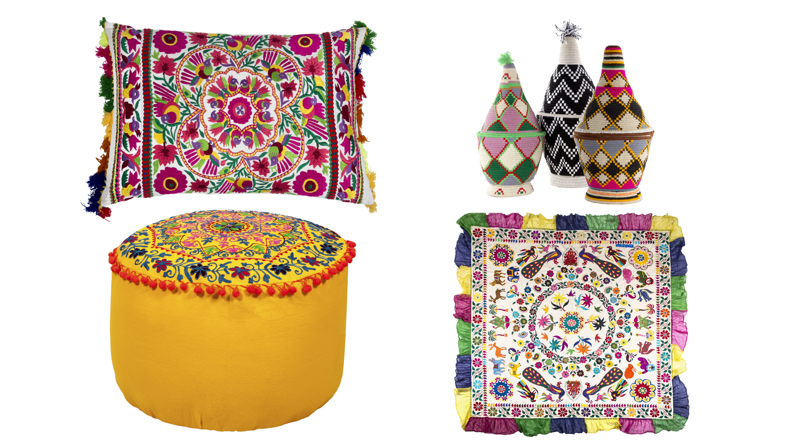 (Clockwise from left) Cushion; containers; pouffe; wall hanging (PA)
