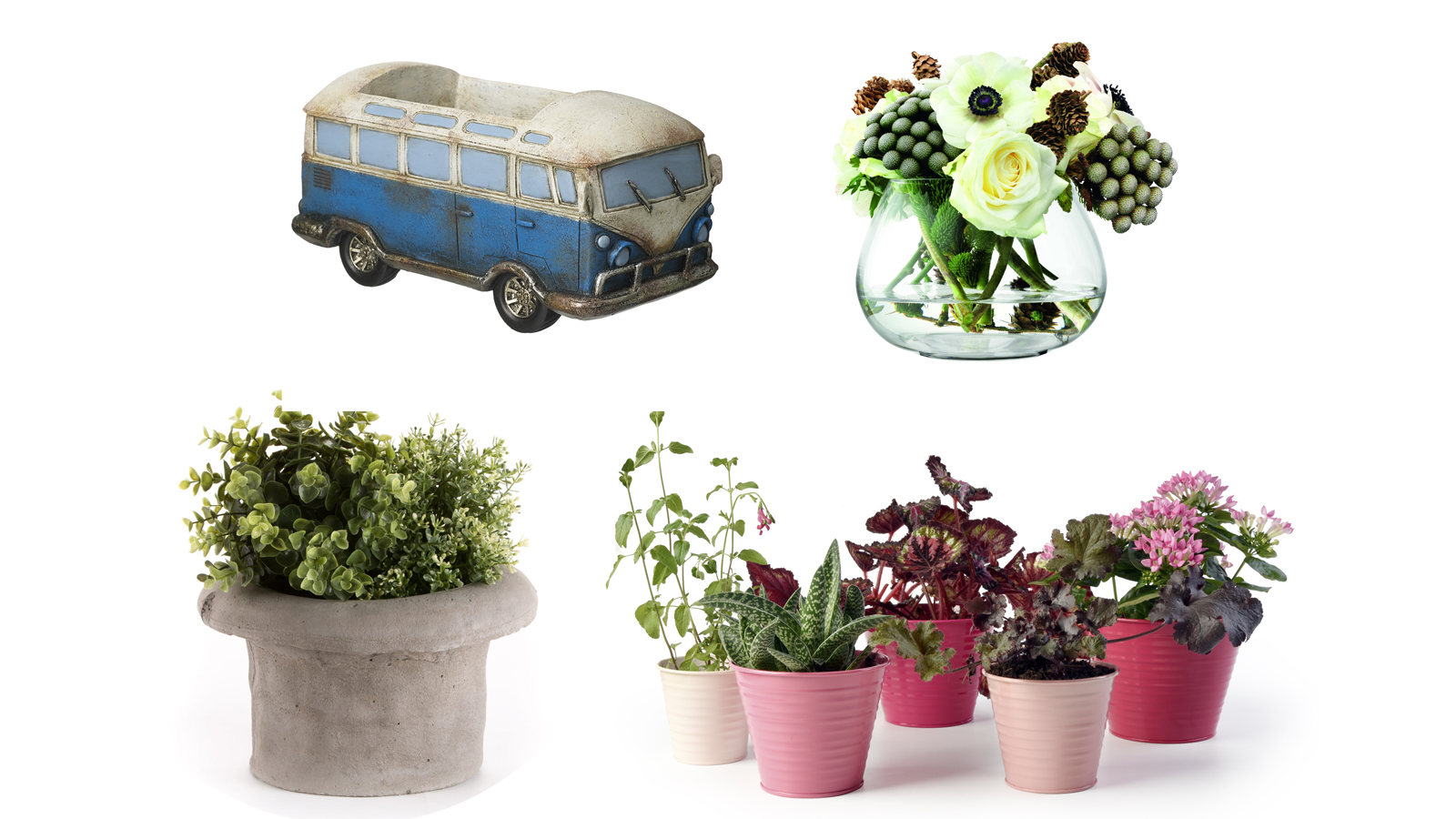 (Clockwise from the left) Camper van pot; glass vase; top hat container; pots (PA)