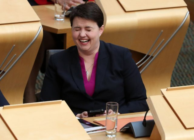 Scottish Conservative leader Ruth Davidson laughs during FMQs