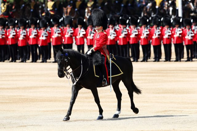 Soldiers ahead of the Trooping the Colour ceremony at Horse Guards Parade. (Jonathan Brady/PA)
