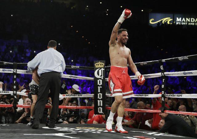 Ward celebrates after defeating Kovalev (John Locher/AP)