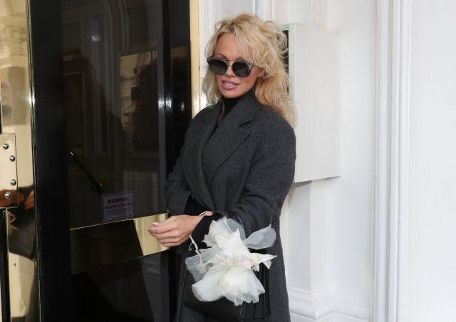 Pamela Anderson outside the Ecuadorian embassy in London (Jonathan Brady/PA)