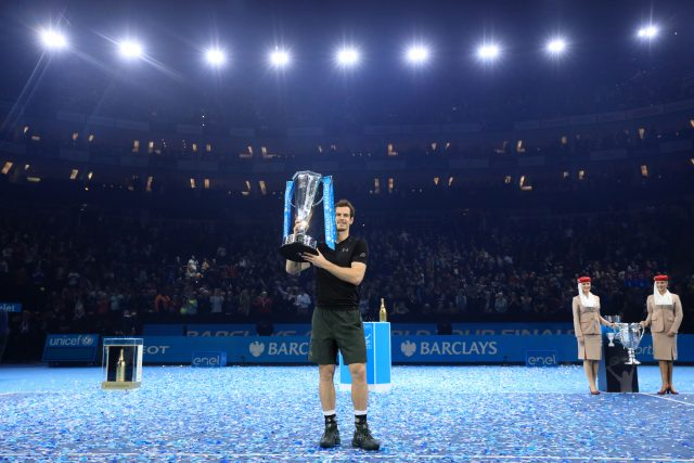 Andy Murray celebrates his victory at the ATP finals