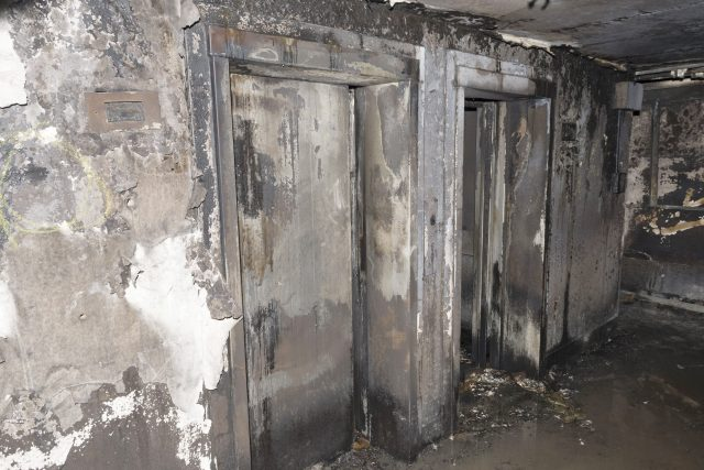 Burnt-out lifts at Grenfell Tower in west London
