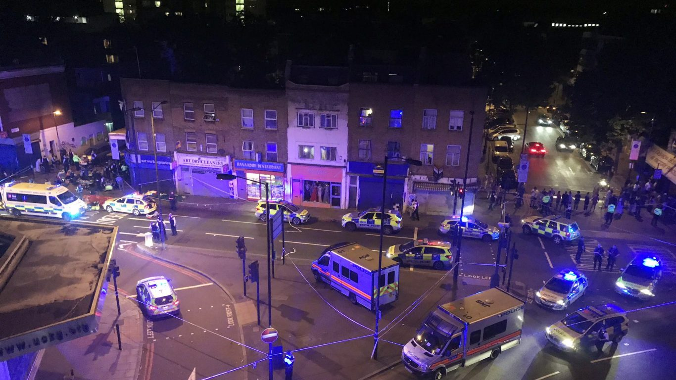 Picture taken with permission from the Twitter feed of Thomas Van Hulle @Thomasvanhulle showing police activity on the Seven Sisters Road in north London (Thomas Van Hulle/PA)