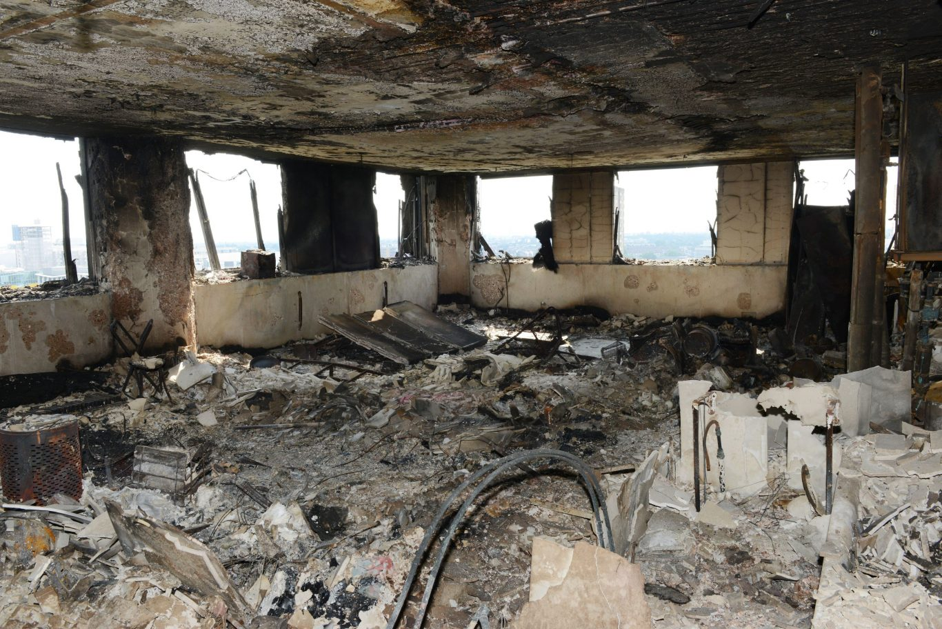 A burnt-out flat inside Grenfell Tower (Metropolitan Police/PA)