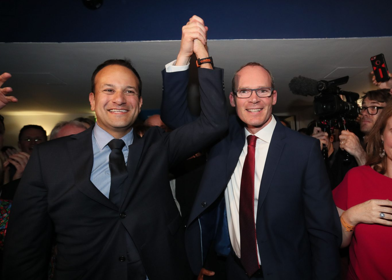 Simon Coveney  congratulates Leo Varadkar as he is named as the leader of the Fine Gael party (Brian Lawless/PA)