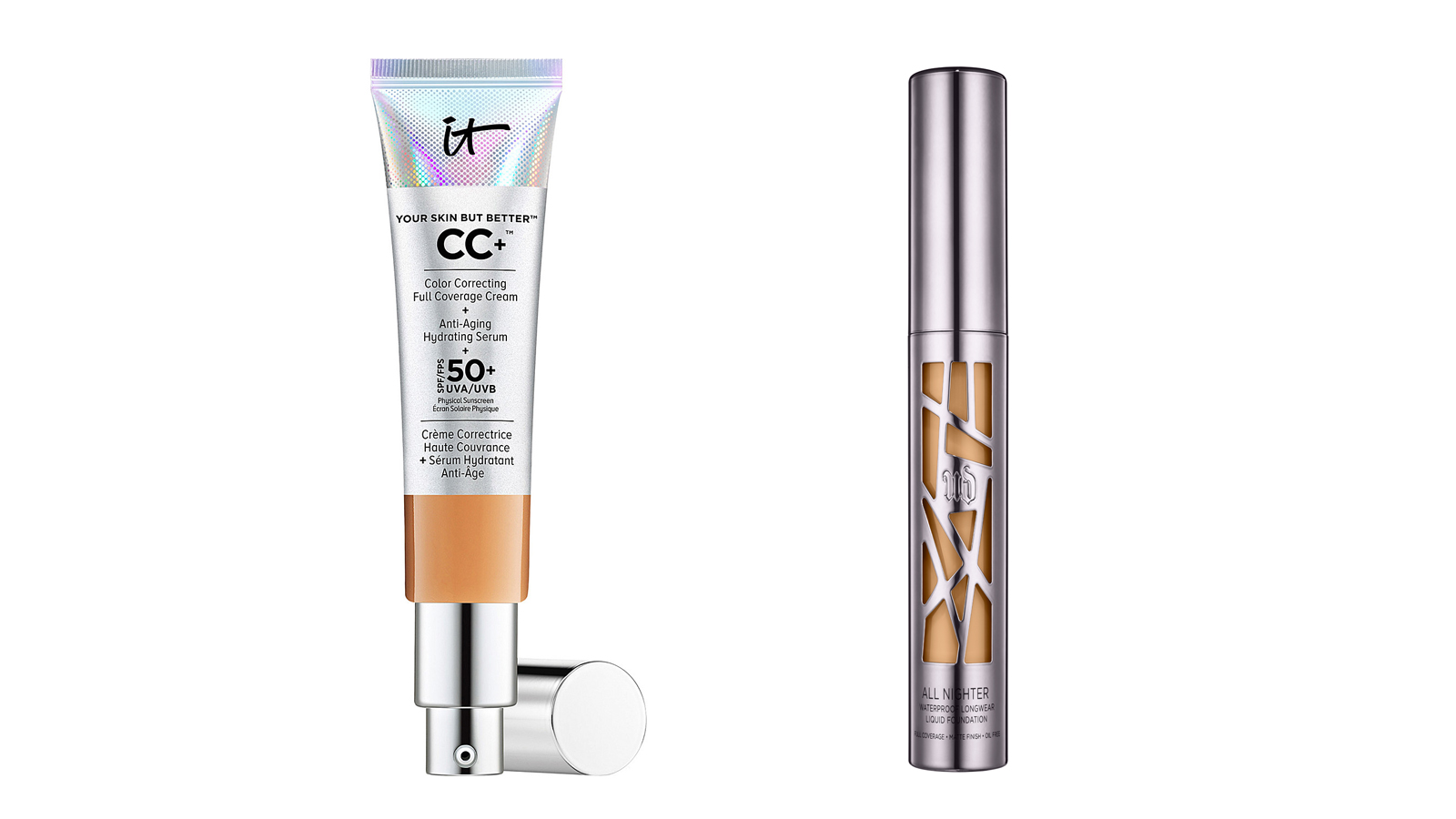 IT Cosmetics Your Skin But Better CC+ SPF 50+ Cream and Urban Decay All Nighter Liquid Foundation