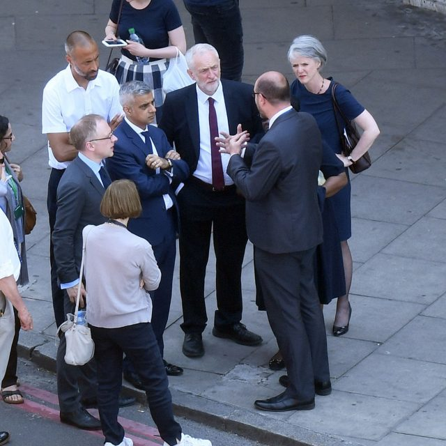 Mr Corbyn visited the scene alongside Mayor of London Sadiq Khan (Victoria Jones/PA)