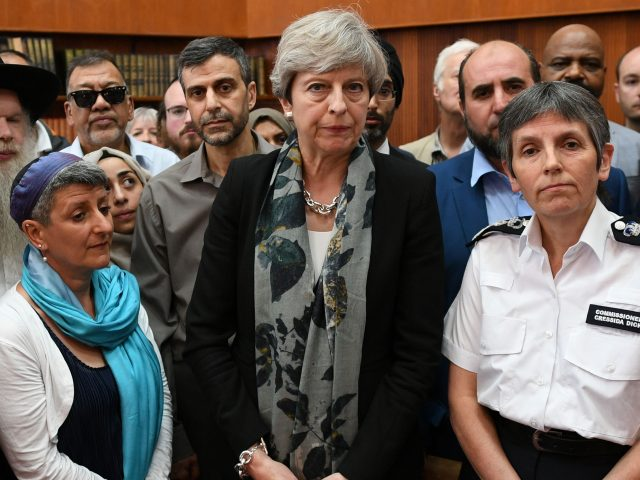 Prime Minister Theresa May and Metropolitan Police Commissioner Cressida Dick meet faith leaders at Finsbury Park Mosque (Stefan Rousseau/PA)