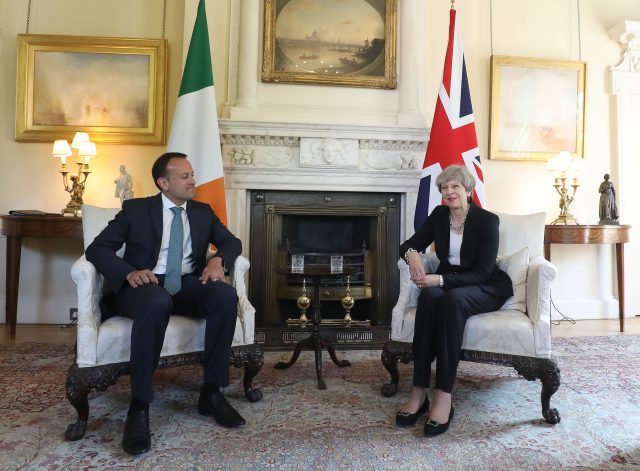 Theresa May with Leo Varadkar. (Philip Toscano/PA)