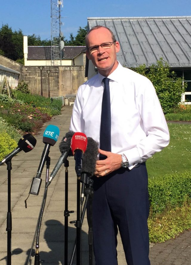 Simon Coveney speaks to media at Stormont Castle, Belfast (David Young/PA)