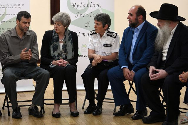 Cressida Dick and Theresa May speak to faith leaders at Finsbury Park Mosque