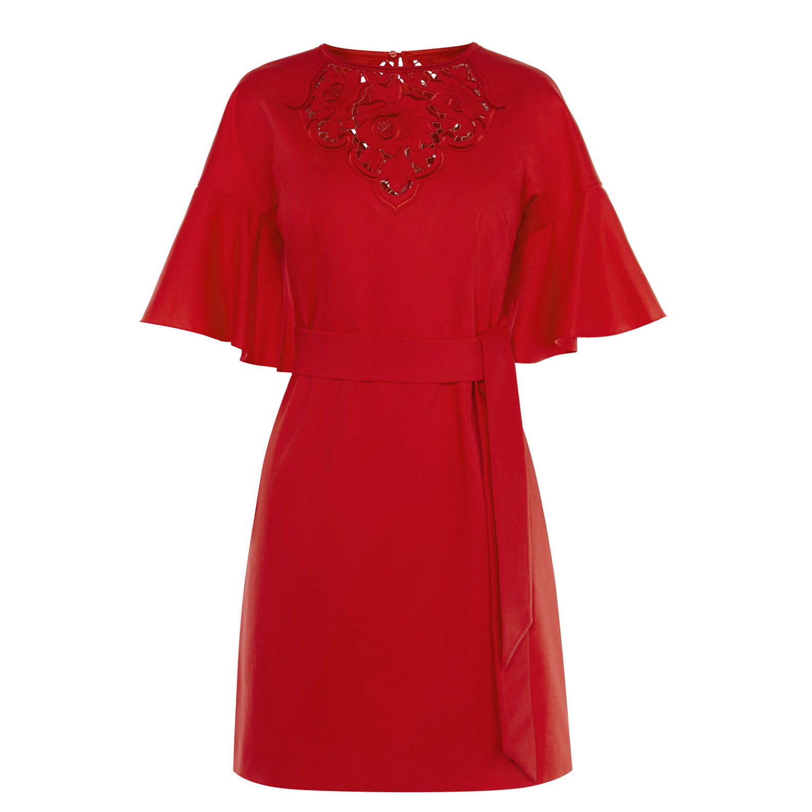 karen millen embroidered red tie waist dress