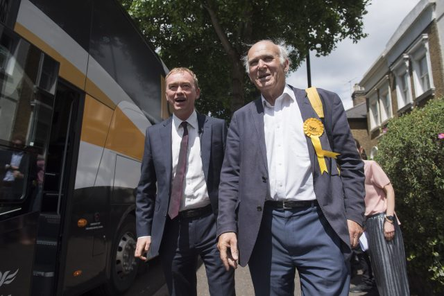 Former leader Tim Farron and Vince Cable during the general election campaign trail
