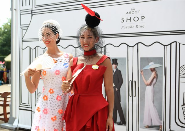 Lisa Tan from London (left) with Angela Menz from Australia during day one of Royal Ascot
