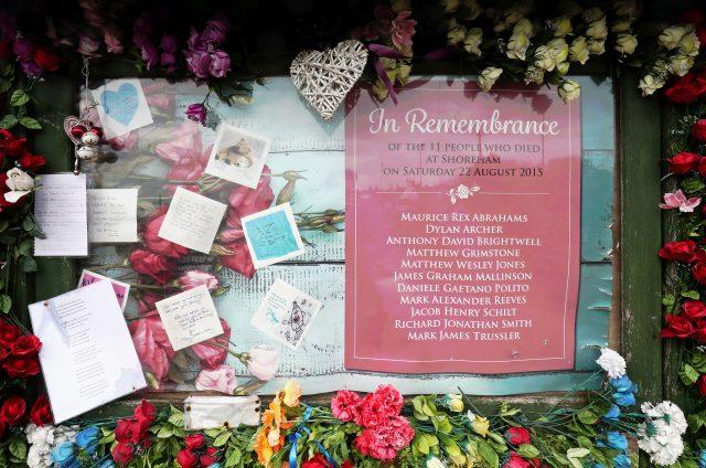 A memorial board near Shoreham Airport. (Gareth Fuller/PA)