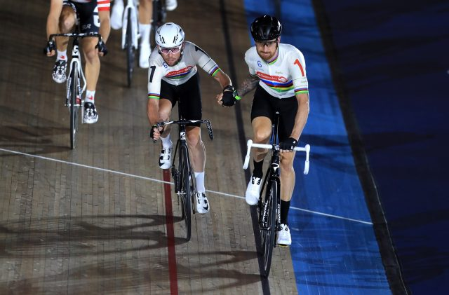 Sir Bradley Wiggins (right) and Mark Cavendish during the Madison Chase