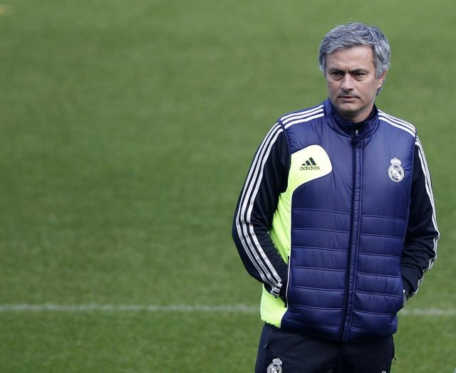 Real Madrid manager Jose Mourinho during a training session