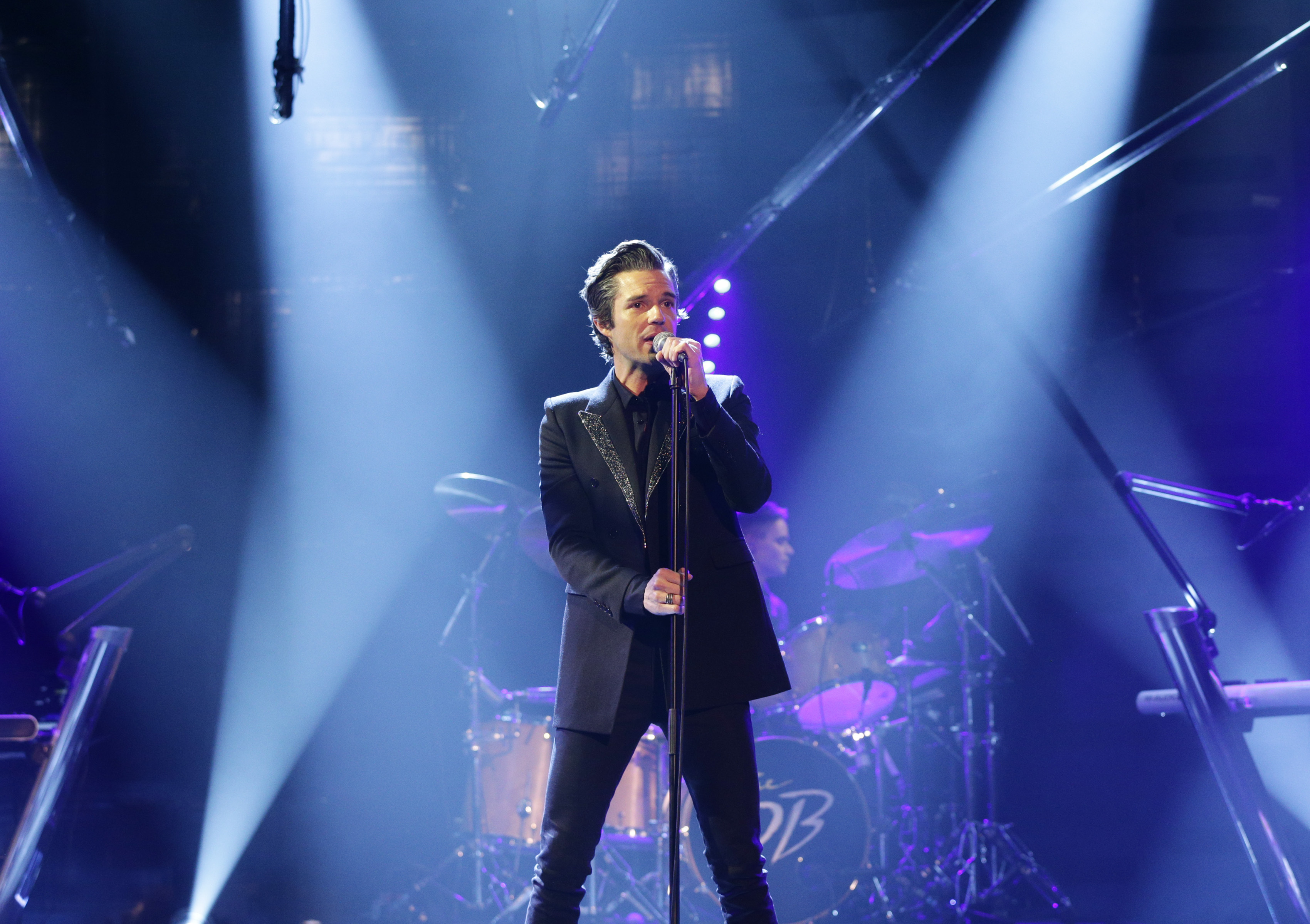 Brandon Flowers performing during filming of the Graham Norton Show