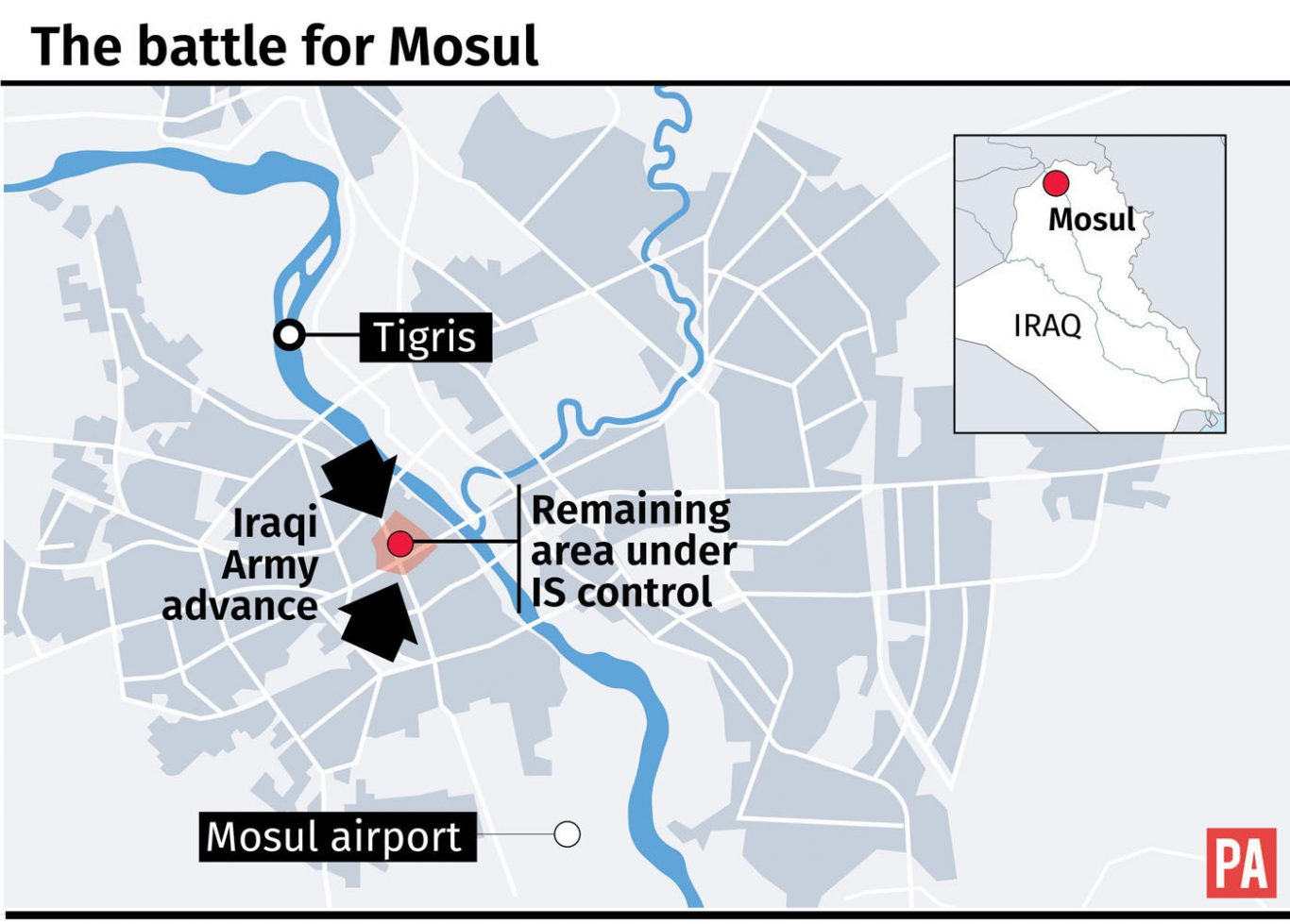 Map locates remaining area under IS control in Mosul graphic