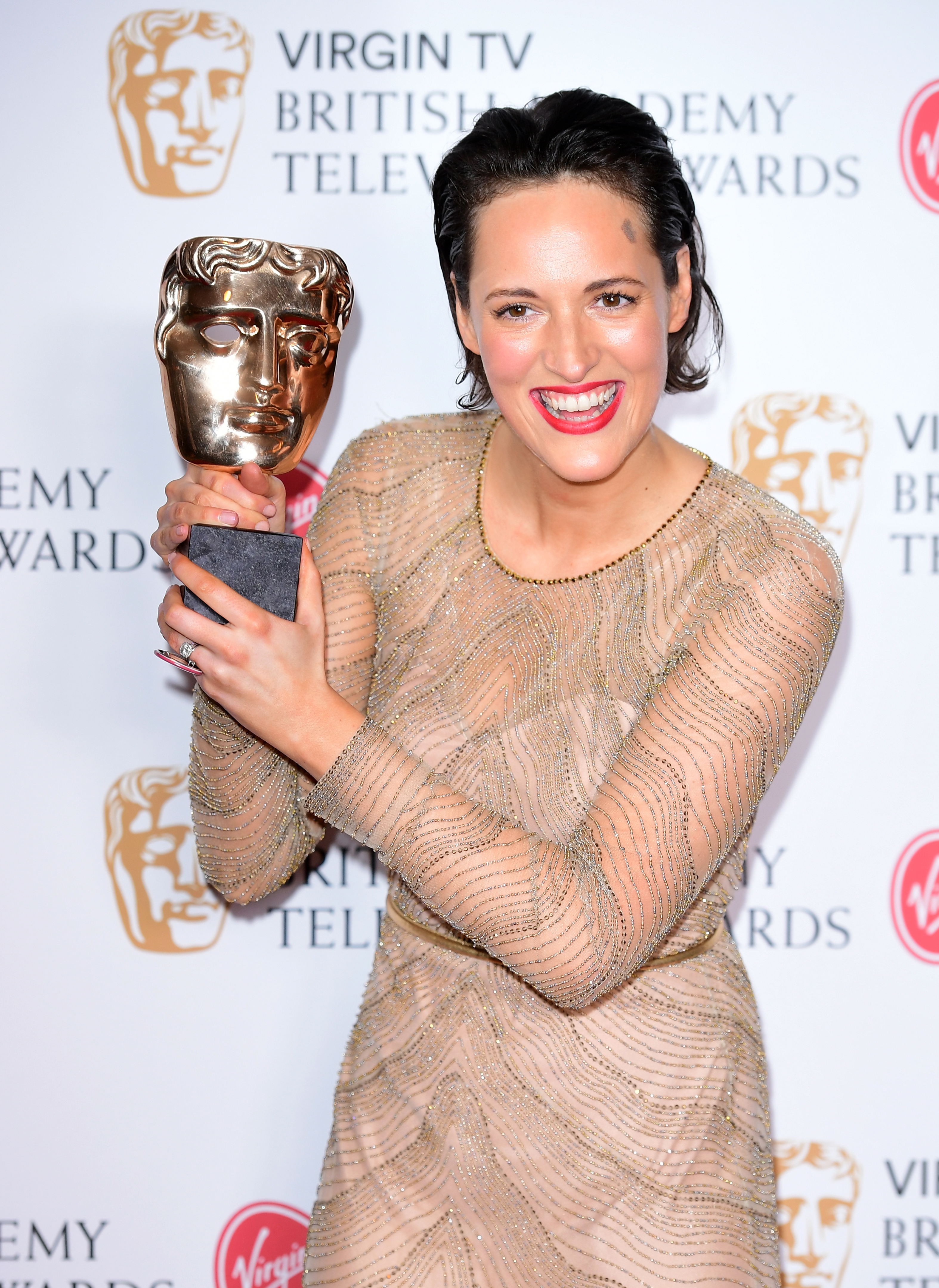 Phoebe Waller-Bridge with the award for Best Female Performance in a Comedy Programme in the press room at the Virgin TV British Academy Television Awards